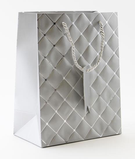 Taška medium Stříbrná - kosočtverce - Dárkové tašky