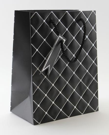 Taška medium Černá - kosočtverce - Dárkové tašky