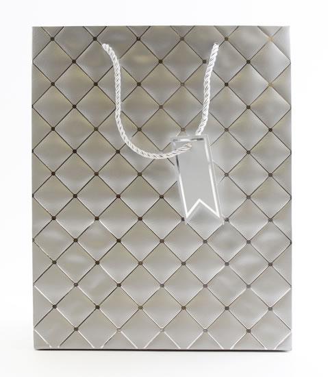 Taška large Stříbrná - kosočtverce - Dárkové tašky