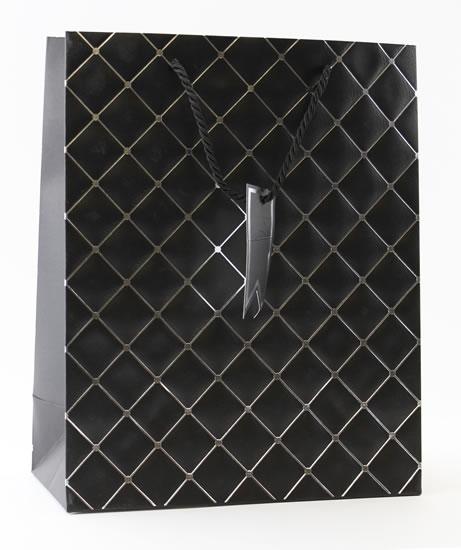Taška large Černá - kosočtverce - Dárkové tašky