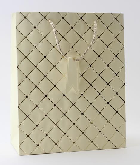 Taška large Béžová - kosočtverce - Dárkové tašky