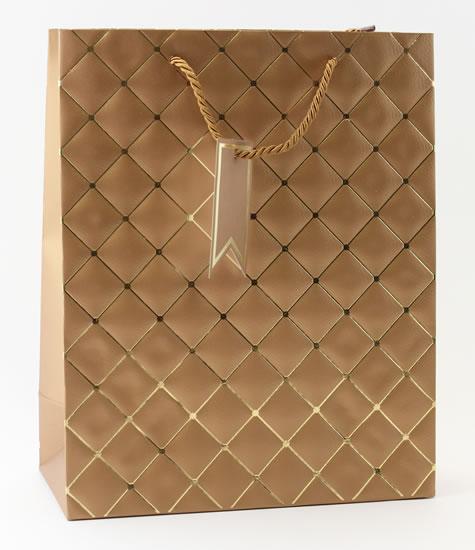 Taška large Hnědá - kosočtverce - Dárkové tašky
