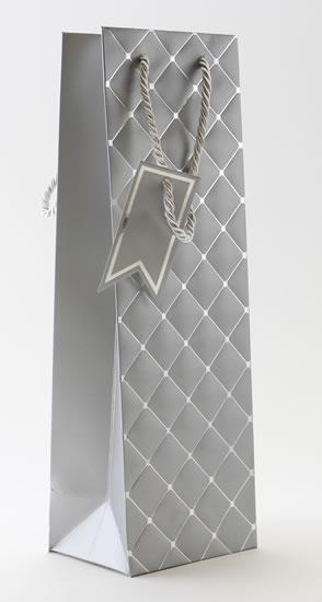 Taška lahev Stříbrná - kosočtverce - Dárkové tašky