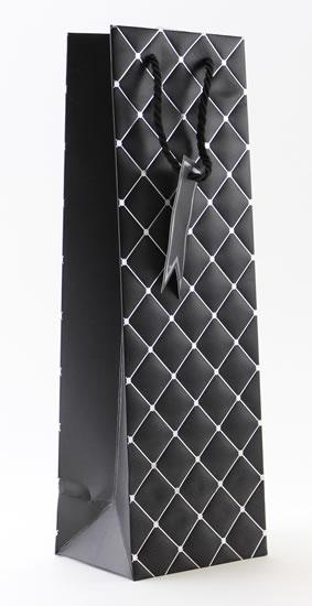 Taška lahev Černá - kosočtverce - Dárkové tašky