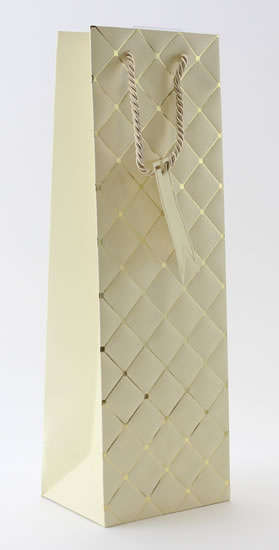 Taška lahev Béžová - kosočtverce - Dárkové tašky