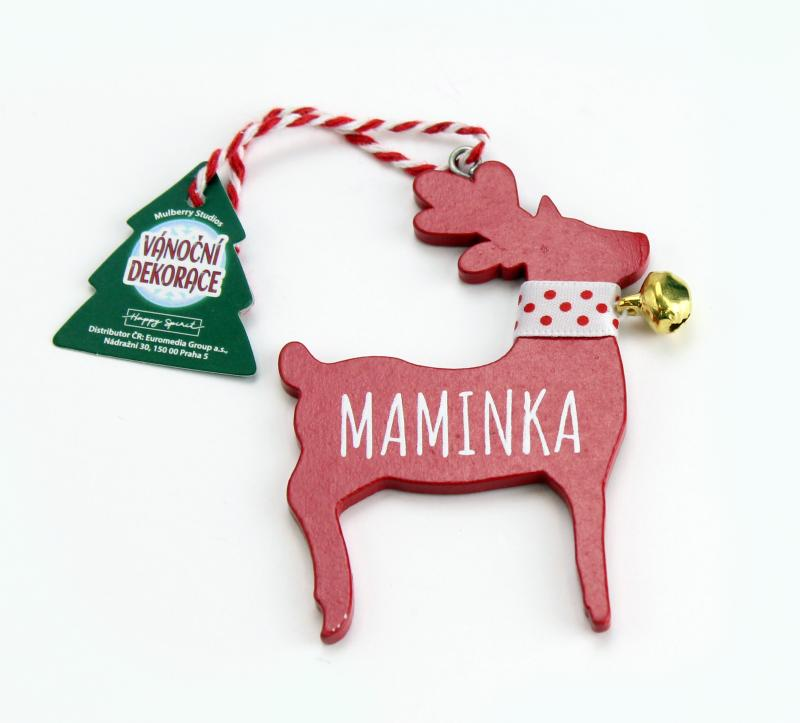 Vánoční dekorace červený sob MAMINKA