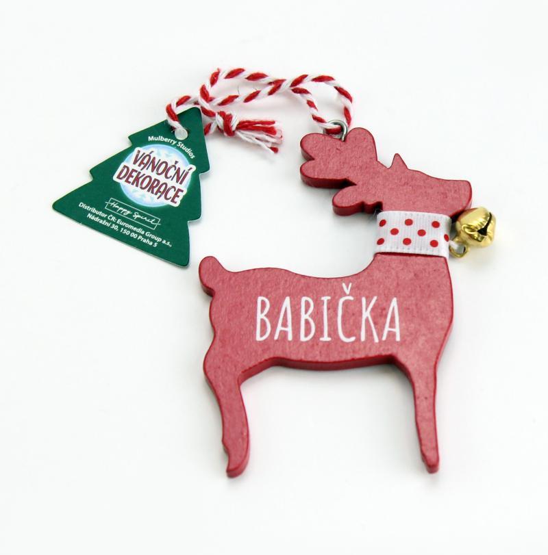 Vánoční dekorace červený sob BABIČKA