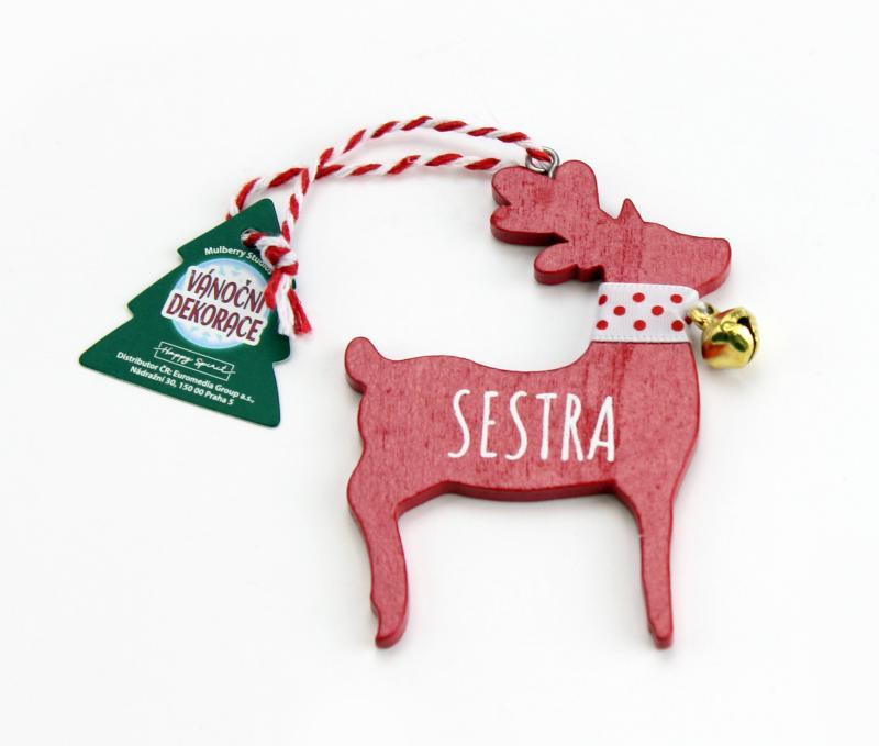 Vánoční dekorace červený sob SESTRA