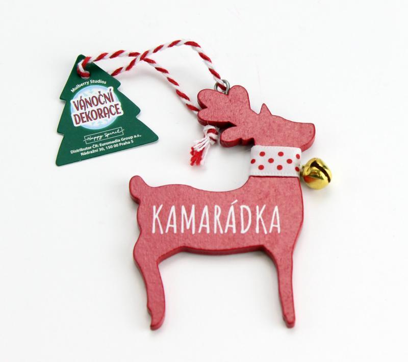Vánoční dekorace červený sob KAMARÁDKA