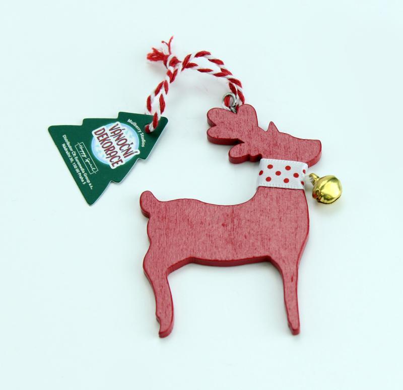 Vánoční dekorace červený sob BEZ TEXTU