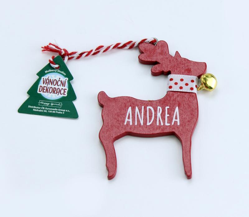 Vánoční dekorace červený sob ANDREA