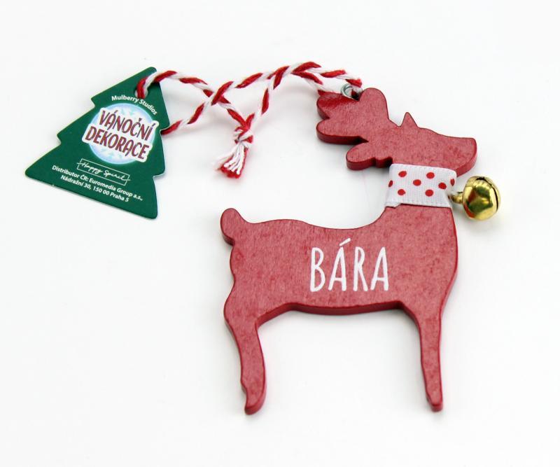 Vánoční dekorace červený sob BÁRA