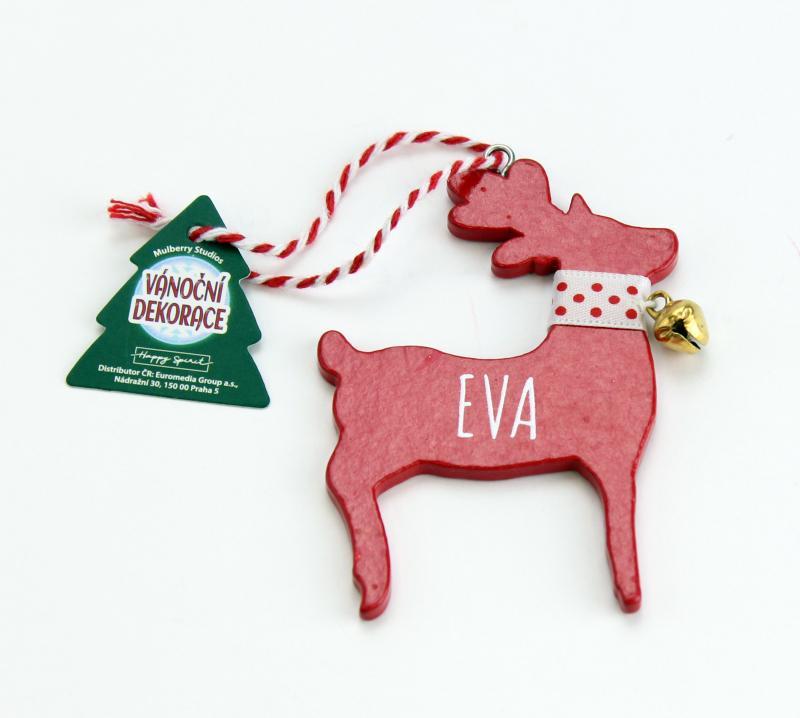 Vánoční dekorace červený sob EVA