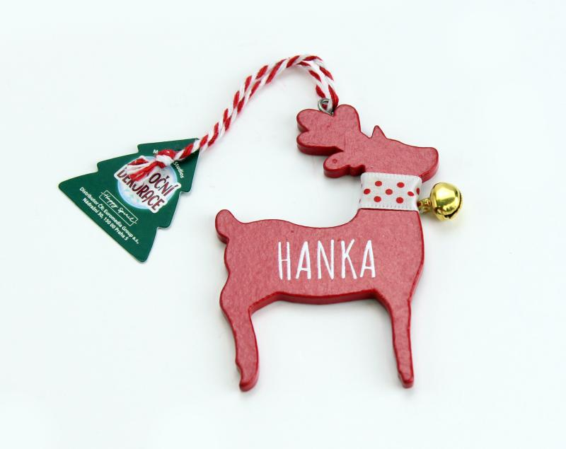 Vánoční dekorace červený sob HANKA