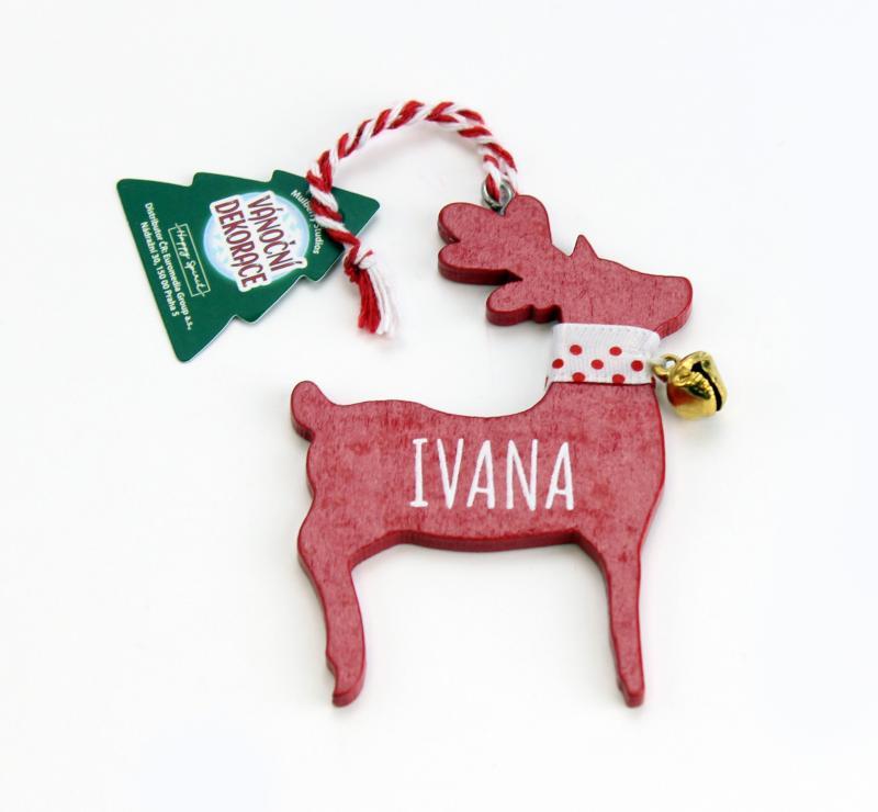 Vánoční dekorace červený sob IVANA