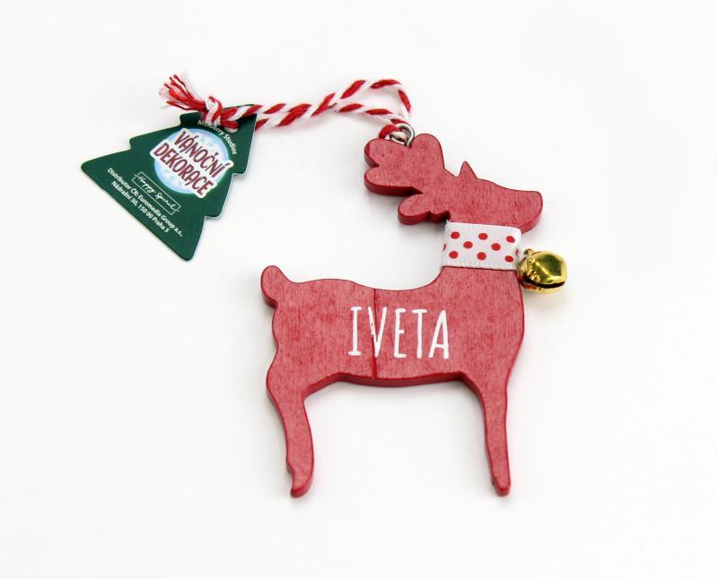 Vánoční dekorace červený sob IVETA