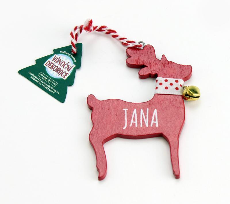 Vánoční dekorace červený sob JANA
