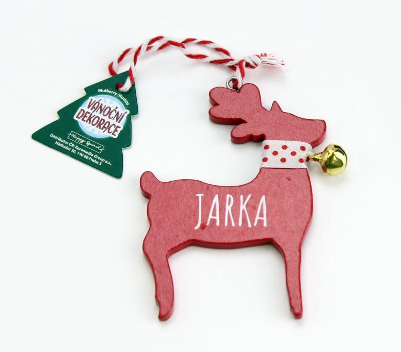 Vánoční dekorace červený sob JARKA