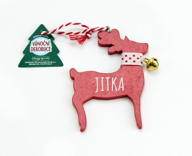 Vánoční dekorace červený sob JITKA