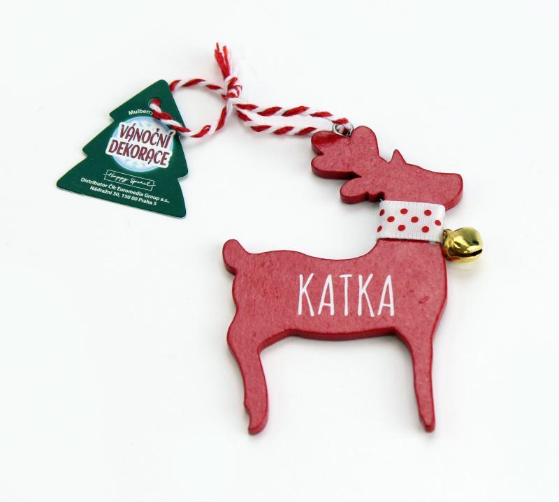 Vánoční dekorace červený sob KATKA