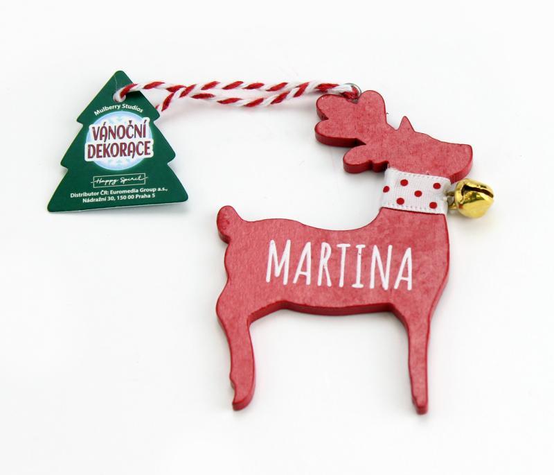 Vánoční dekorace červený sob MARTINA