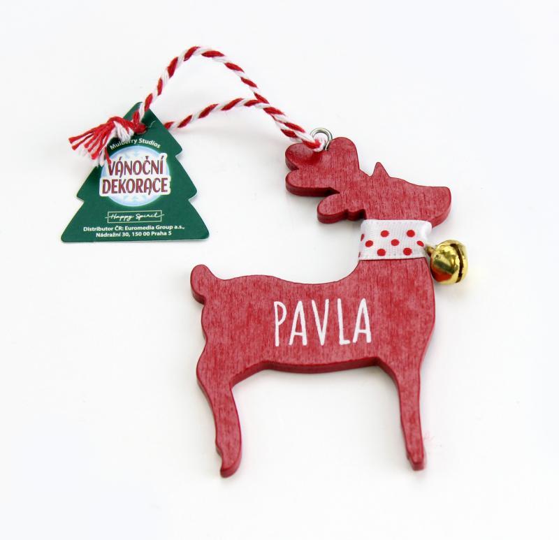 Vánoční dekorace červený sob PAVLA