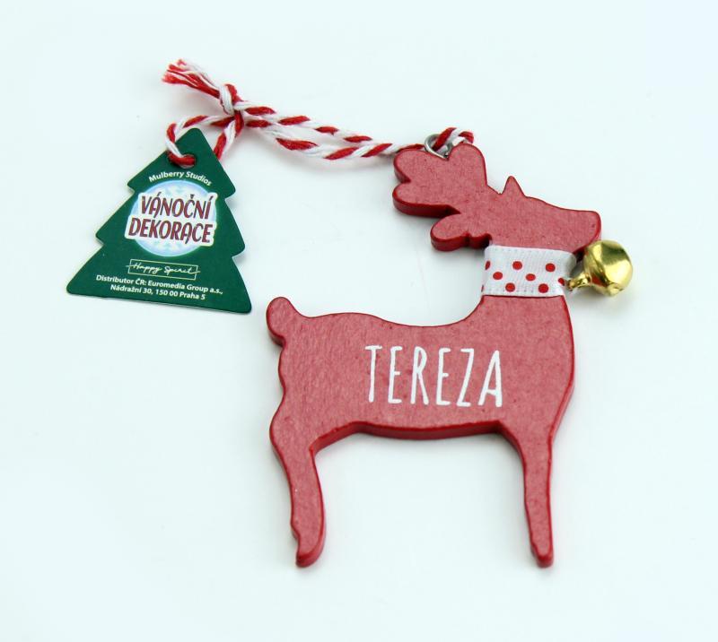 Vánoční dekorace červený sob TEREZA