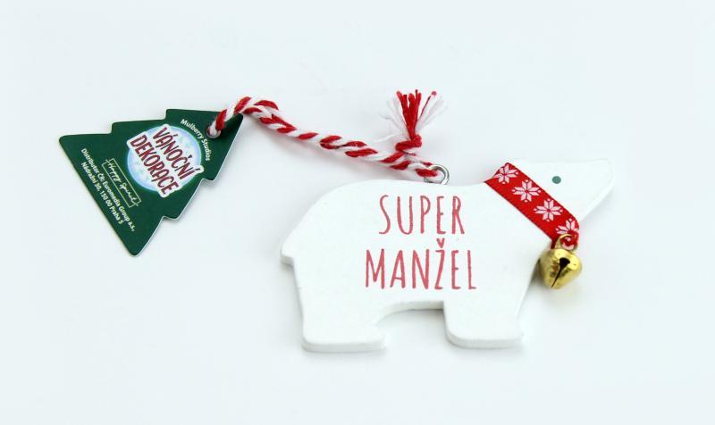 Vánoční dekorace lední medvěd SUPER MANŽEL