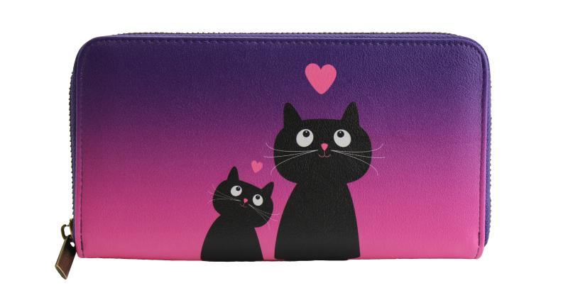 Peněženka velká Kočka se srdíčky - Designové peněženky