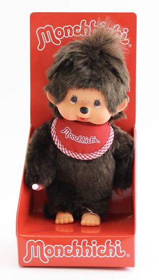 Monchhichi 20cm - holka s červeným bryndáčkem (Mončiči)