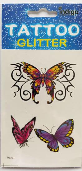 Tetování Tři barevní motýli