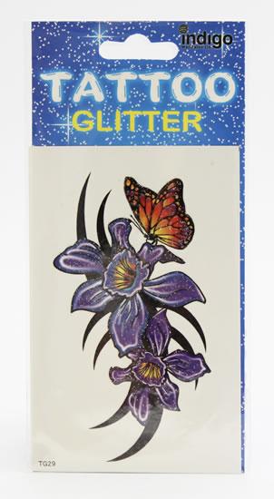 Tetování Fialové květy s motýlem