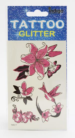 Tetování Růžové motivy s glitrem