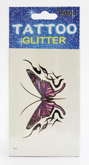 Tetování Fialový motýl s ornamentem