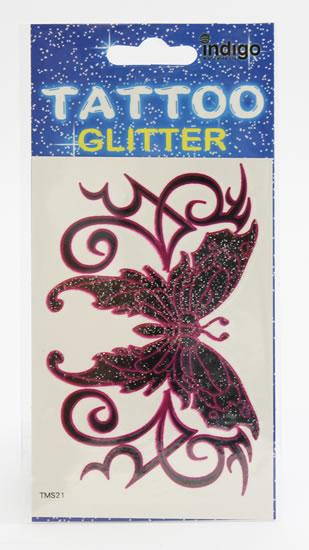 Tetování Růžovočerný motýl s ornamentem