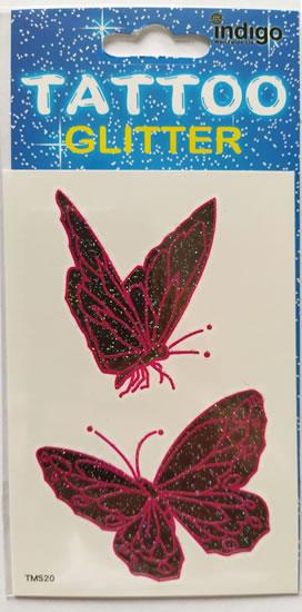 Tetování Dva růžovočerní motýli
