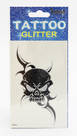 Tetování Černostříbrná lebka s ornamentem
