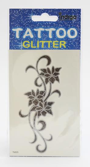 Tetování Černostříbrné květy s ornamentem