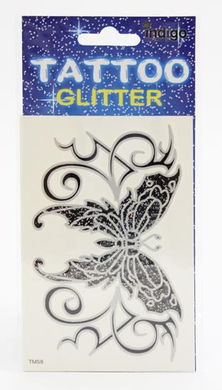 Tetování Černostříbrný motýl s ornamentem