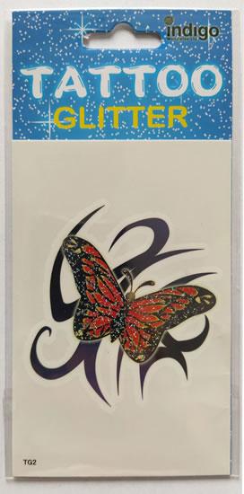 Tetování Oranžový motýl s černým ornamentem