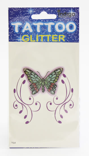 Tetování Zelený motýl s fialovým ornamentem