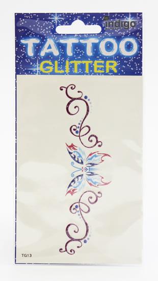 Tetování Modrorůž. motýlek s fial. ornamentem