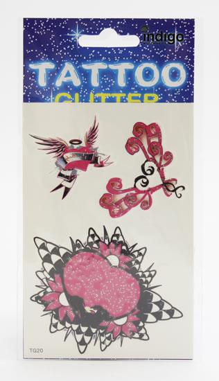 Tetování Tři růžová srdce s ornamenty