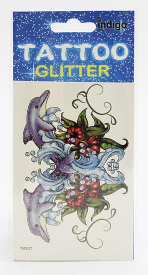 Tetování Dva delfíni s kytičkami