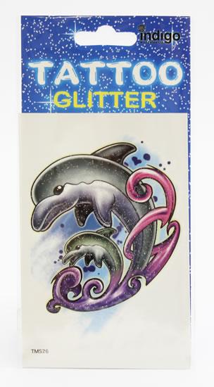 Tetování Velký a malý delfín s fial. vlnou
