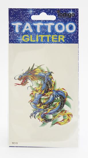 Tetování Modrý drak s ohněm