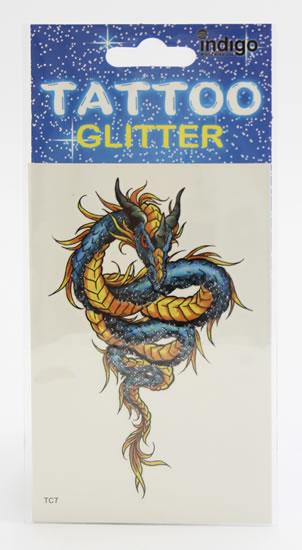 Tetování Modrý drak se žlutými šupinami