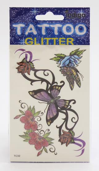 Tetování Fialový motýl a kytky