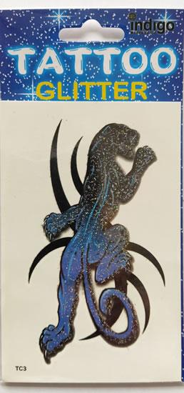 Tetování Modrá puma s glitry
