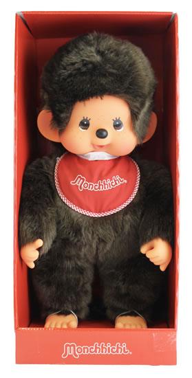 Monchhichi 45cm - kluk červený bryndáček (Mončiči)
